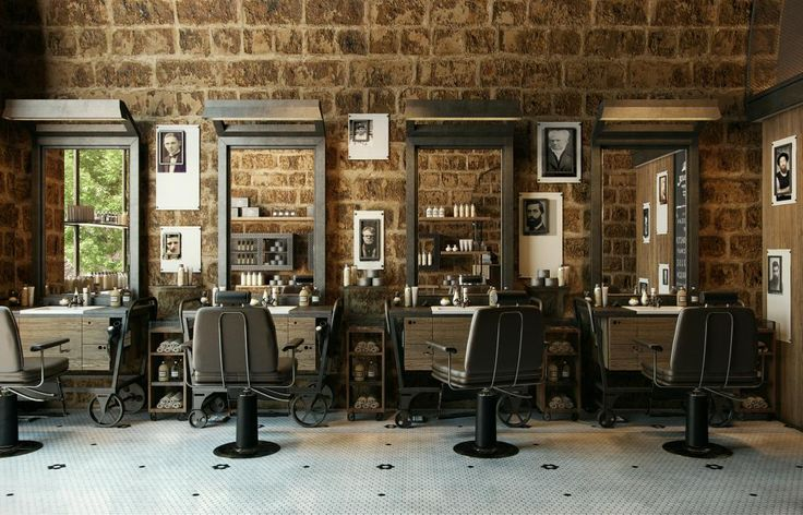 retro barber interior - Google Search