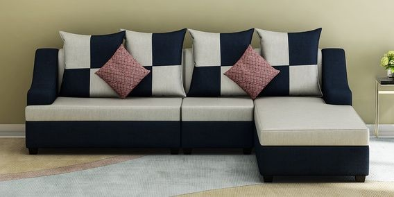 Trevor Lhs Sectional Sofa With Pouffe In Grey Blue Colour By Muebles Casa Sectional Sofa Sectional How To Clean Furniture