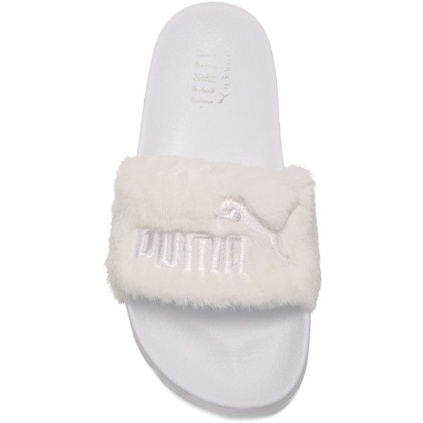 Puma X Rihanna Fenty Leadcat Sandal ❤ liked on Polyvore featuring shoes, sandals, puma shoes, puma footwear, white sandals, puma sandals and white shoes