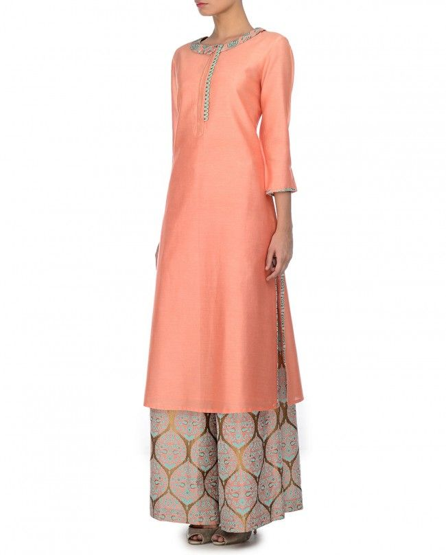 JADE BY MONICA & KARISHMA Blush Peach Kurta Palazzo Set