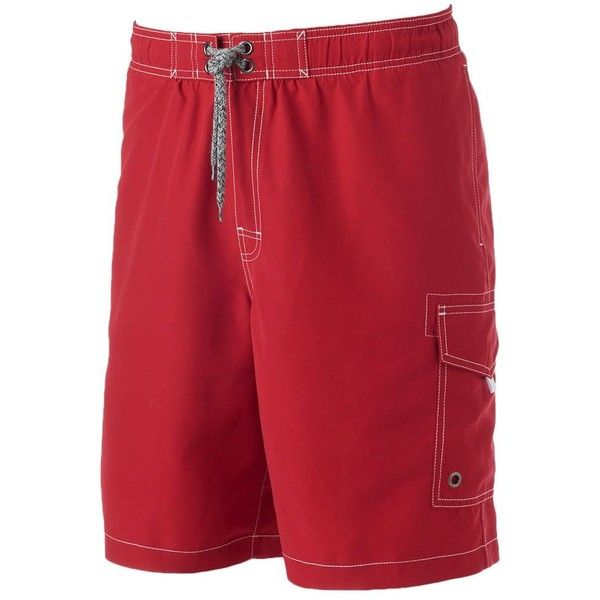 Men's SONOMA Goods for Life™ Solid Swim Trunks ($20) ❤ liked on Polyvore featuring men's fashion, men's clothing, men's swimwear, dark red, big and tall mens clothing, big & tall mens clothing, mens swimwear, mens swimshorts and mens big and tall swimwear