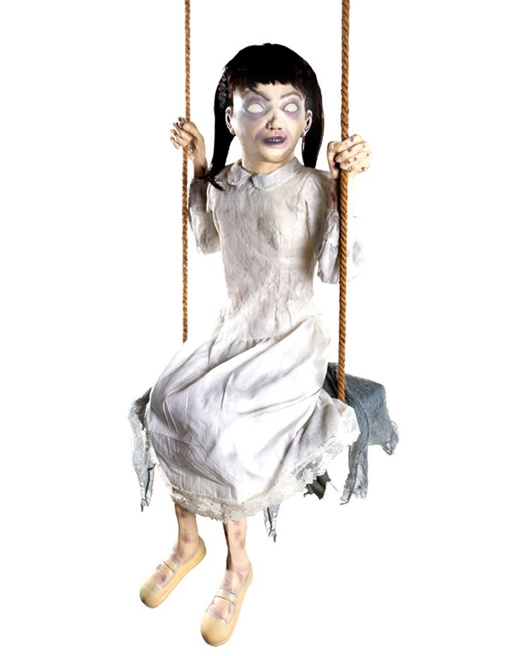 zombie girl swing animated prop spirit halloween i have to remember this idea maybe zombie kids on all sorts of playground equipment - Spirit Halloween Decorations