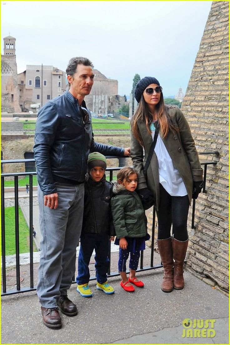 Matthew McConaughey and Camila Alves take their kids Levi and Vida sightseeing in Rome, Italy on January 26, 2014