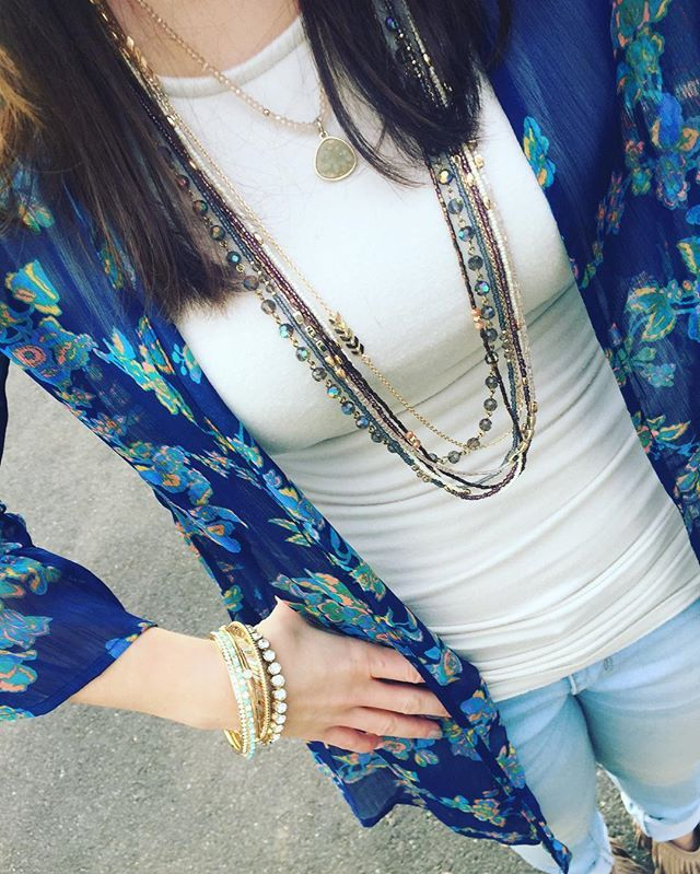 1 strand of Cape Cod necklace to make Cashmere pop. The calico bracelet is part of the arm party Premier Designs