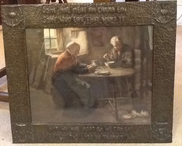Scottish Arts & Crafts copper picture frame‏. Framed size measures 24.5 inches x 21 inches.
