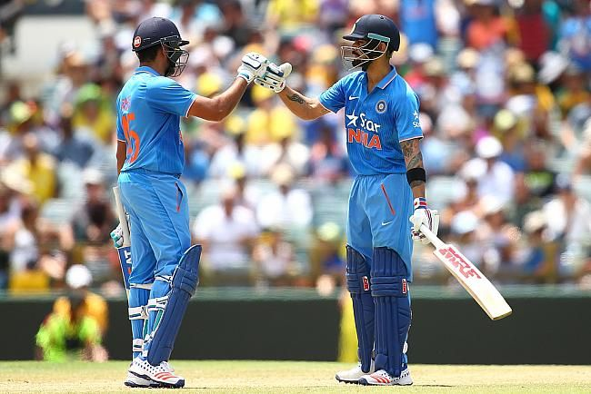 Rohit Sharma and Virat Kohli shared a 207-run stand before Kohli holed out nine-short of a deserved century.