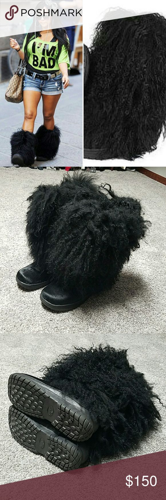 BearPaw Fluff Boots as seen on Snooki 10 Worn once in like new condition. Funnest boots EVER!  These are the same boots as Snooki wore on Jersey Shore. NO TRADES PLEASE DON'T ASK ME! BearPaw Shoes Heeled Boots