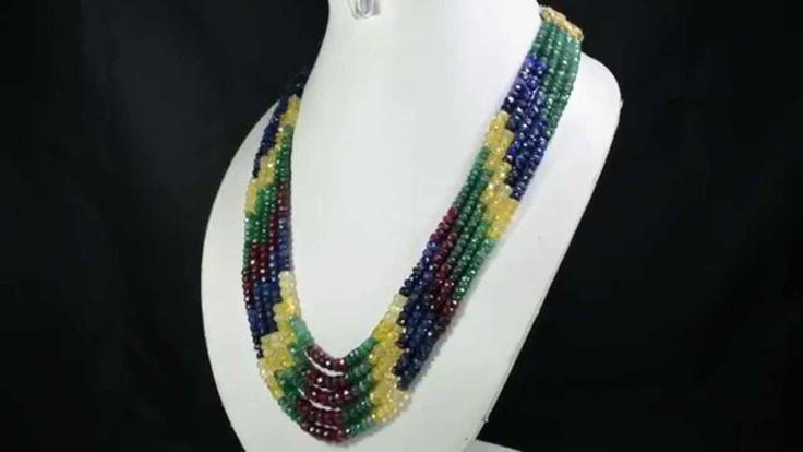 5 Strands Natural Ruby Emerald Sapphire 534ct Multi Row Gemstone Beads N...