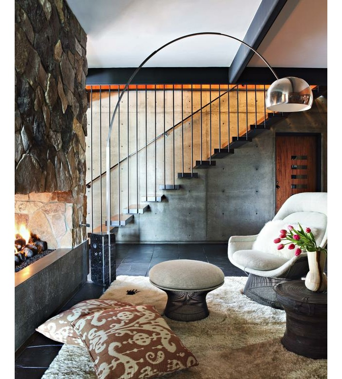 Architecture, Lounge Room Interior Decorating Ideas With Stone Wall  Fireplace Design Plus Fur Rug White Chair With Footstool: The Astonishing  La Caada ...