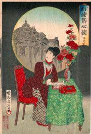 揚州周延( Toyohara Chikanobu: 豊原周延 )「幻燈写心競 洋行」 当時の人気錦絵作家により明治22年−23年に刊行された。明治になって再渡来した幻燈が、女性のさまざまな夢を描き出す道具として比喩的に使われている。