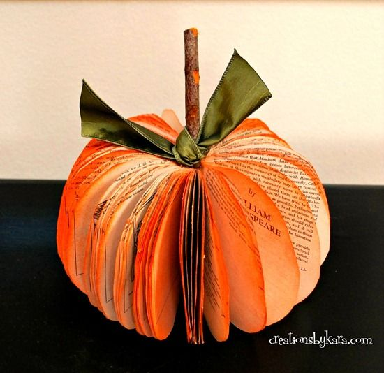 Book Crafts - Book Page Pumpkin Tutorial ~ Make a set of