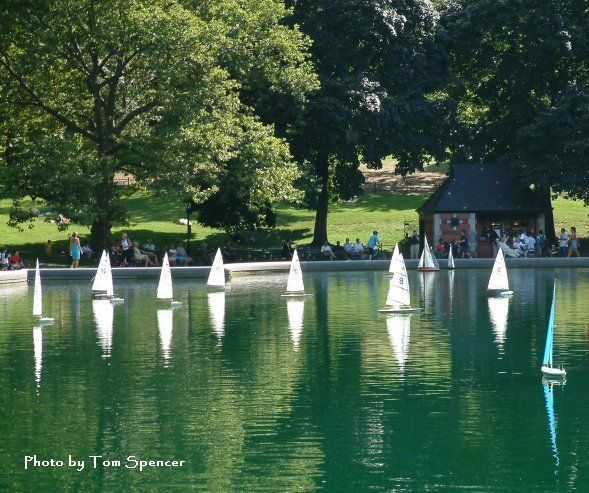 Remote controlled model sailboats on the Conservatory Water.