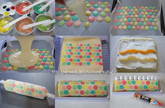 Colourful Polka Dot decorated Swiss roll!  Make your swiss roll sponge batter, separate some and distribute equally into 5 bowls, tint them with different colour. Start piping spots of coloured batter as pictured. Pop in the freezer for 10-15 minutes or bake for 3 min. Cover with un-coloured sponge batter equally on top of spots and bake for about 10 mins.DO NOT OVER BAKE for a pale colour and soft so that it rolls easily. Turn the cake so that the decorations are facing down. Roll up and…