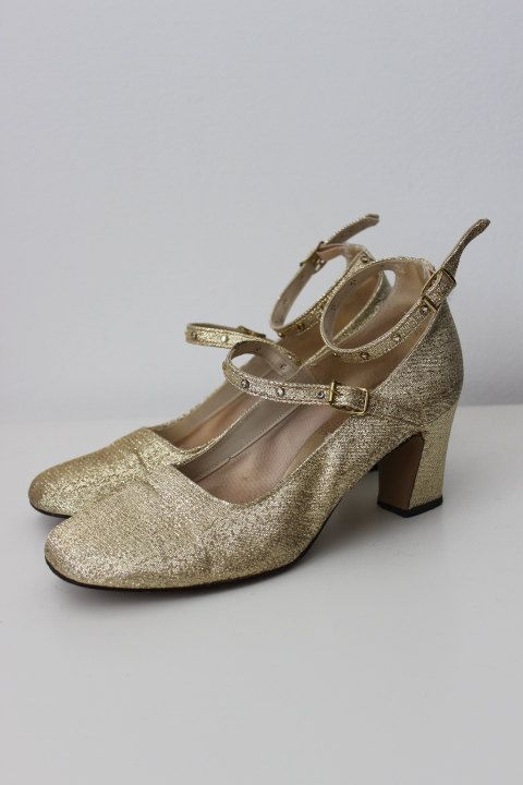 60s Shimmery Metallic MOD Shoes by cocoandorange on Etsy