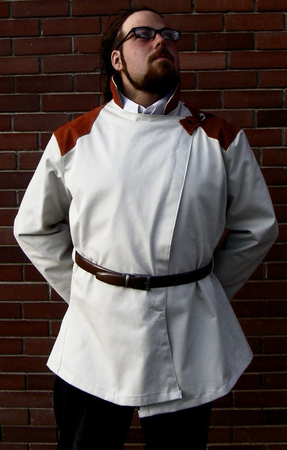 mens orange & white canvas millitary style jacket with buckle details