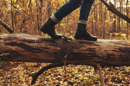 "She laughs continuing to balance on the fallen tree, ""I just feel like i belong out here, it's my natural element,"""
