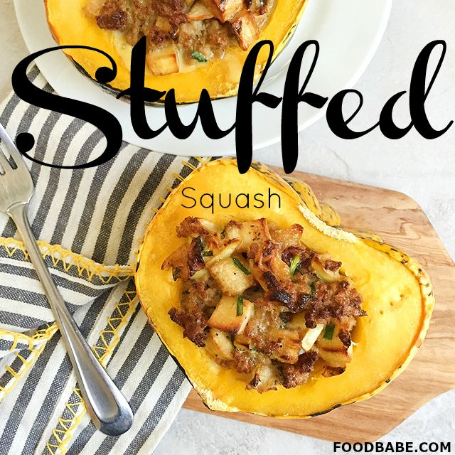 This Stuffed Squash Will Have Your Tastebuds Singing! I do not eat meat so I will be using beans or quinoa instead.
