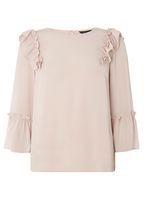 Womens Blush Ruffle Detail Top- Pink