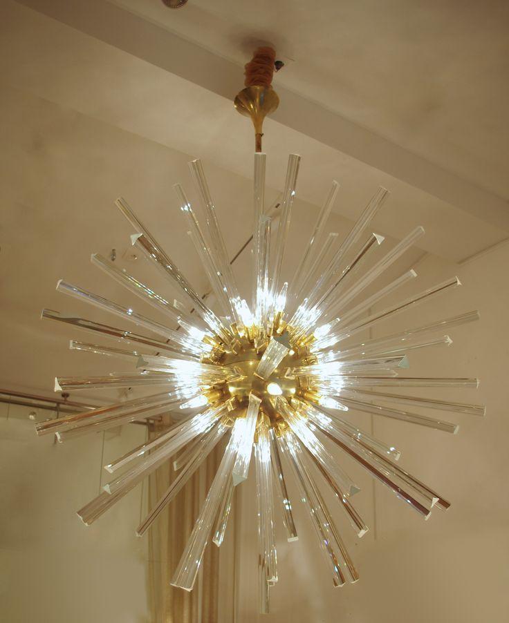 Sputnik light fixture or chandelier, italian work from 80's - Jean Luc Ferrand Antiquités, vintage chandelier, italian antiques