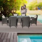 Luxo Morocco 7pc PE Wicker Outdoor Dining Setting Outdoor Furniture Set Brushed Brown Glass Table Top in Brushed Brown PE Wicker with Antique Beige Cushions