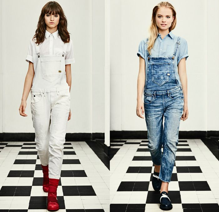 G-Star RAW Amsterdam 2016 Spring Summer Womens Lookbook - Raw Dry Vintage Selvedge Denim Jeans Cargo Pockets Outerwear Coat Parka Onesie Jumpsuit Coveralls Boiler Suit Bib Brace Dungarees Paint Splatter Stains Distressed Wide Leg Baggy Blouse Sneakers Faded Retro Suspenders Crop Top Midriff Jacket Knee Panels Dress Camo Camouflage Jungle Military Shorts