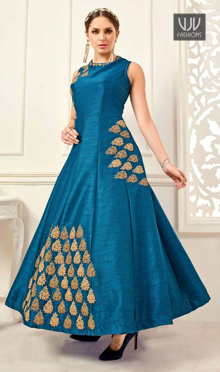 Ruritanian Blue Banglori Silk Floor Length Anarkali Suit Appear sensationally awesome with this Blue banglori silk floor length anarkali suit. The desirable embroidered work a substantial characteristic of this attire.