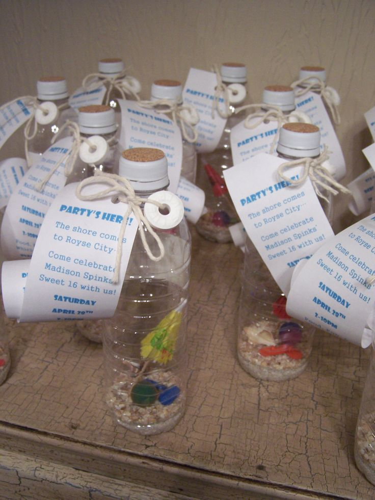 Sweet 16 Beach Party Invitation: empty water bottle, sand, crushed shell, high bounce balls, cocktail umbrellas, flip flop buttons, small conch shells, lifesavers, cooking twine or jute, cork sheeting, circle paper punch, regular hole punch, stick-on labels, krazy glue, pencil for rolling invitation, and paper for invitation. Super easy and cute!!!