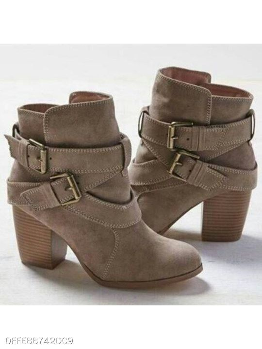 b78b684674f Plain Chunky High Heeled Velvet Round Toe Casual Outdoor High Heels ...