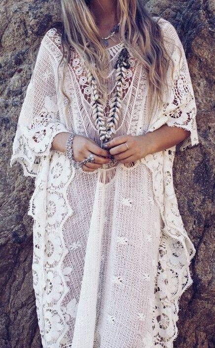 Vintage 1970s style crochet kaftan bohemian lace caftan gypsy wedding dress design idea