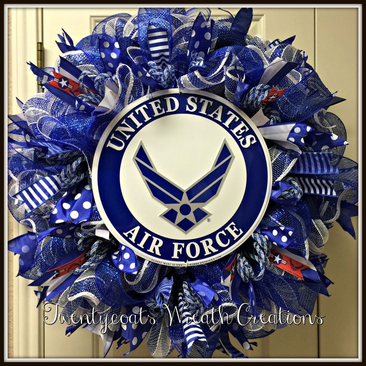 Air Force deco mesh and burlap wreath by Twentycoats Wreath Creations (2016)