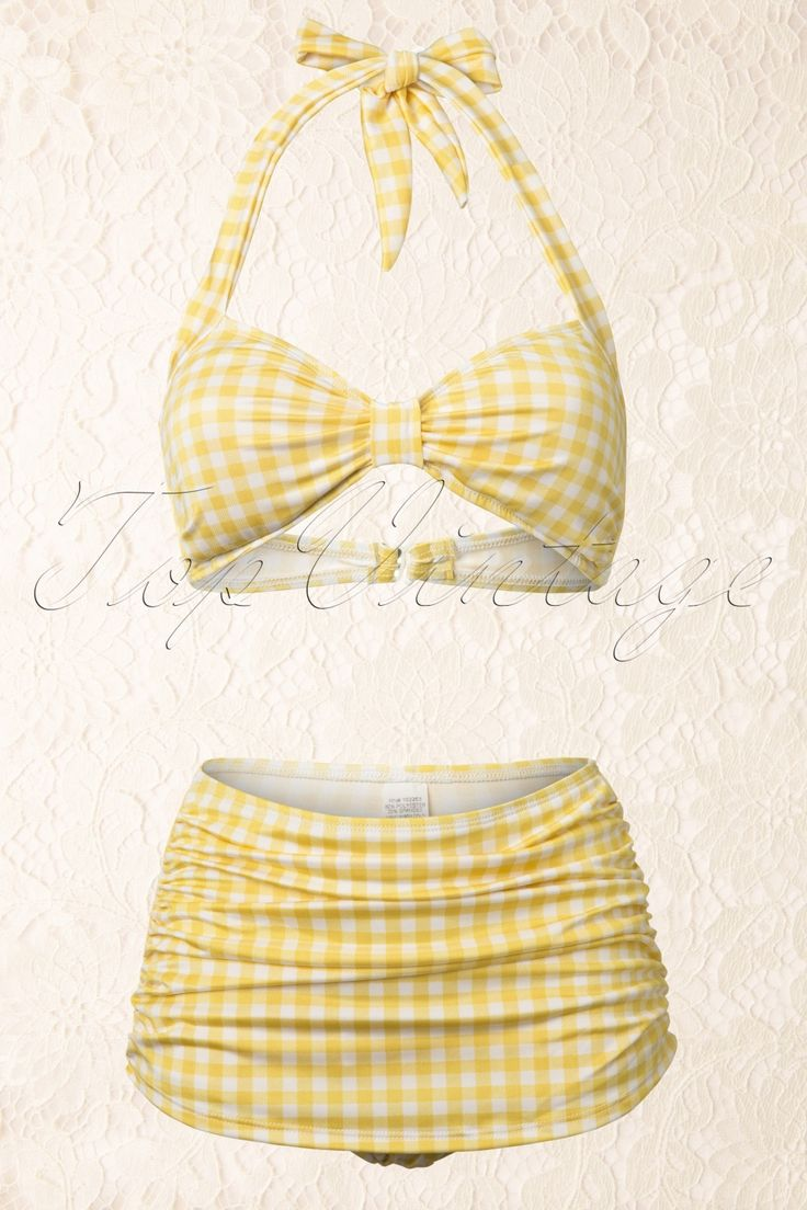 She wore an itsby bitsy yellow gingham bikini! Perfect retro suit for some fun in the sun:: Vintage gingham bathing suit:: Pin Up Swimwear:: Yellow high waisted bikini:: Vintage skirt bikini bottoms