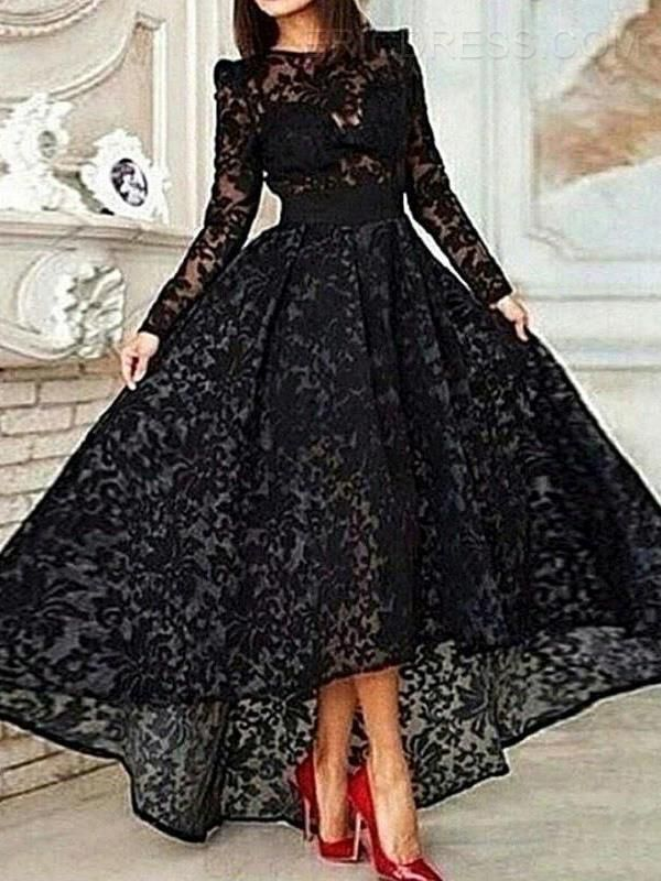 Ericdress Com Offers High Quality Ericdress Long Sleeve A Line Asymmetrical Length Lace Evening Dress Evening Dresses  Unit Price