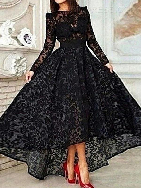 Ericdress Long Sleeve A-Line Asymmetrical Length Lace Evening Dress Evening Dresses 2015- ericdress.com 11401064