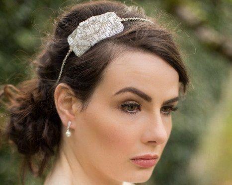 Vintage Side Headpieces - Art Deco Inspired Wedding Appliqué Headband, Arabella