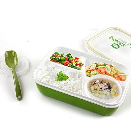 yosoo silicone leakproof rectangular lunch bento box for kids adults microwave safe food. Black Bedroom Furniture Sets. Home Design Ideas