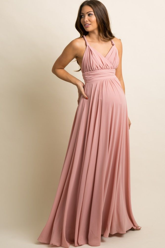 83fdf048f6a39 Mauve Chiffon Halter Tie Back Maternity Evening Gown   Hairstyle in ...