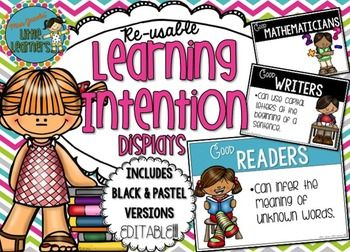 How do you display your Learning Intentions, Learning Focus, or 'I can' statements in the classroom?Here is cute display for you to use over and over again in the classroom so that your students have a visual to remind them about the learning focus for each lesson.This pack includes 2 various colour schemes: Black and Pastel colours.