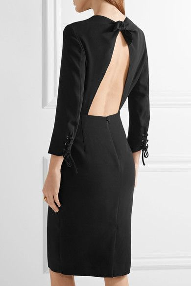 Max Mara - Open-back Crepe Dress - Black - UK14