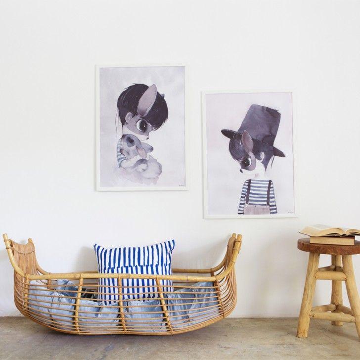 Baby nursery decoration ideas - natural materials + watercolour prints