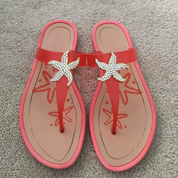 Starfish sandals Orange beach sandals with gold starfish with bright shiny rhinestones only worn once!! Great condition. Great for beach wedding Shoes Sandals