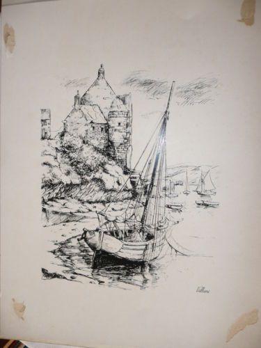reproduction dessin bord de mer bateau voilier manoir mer bretagne dessins photos pinterest. Black Bedroom Furniture Sets. Home Design Ideas