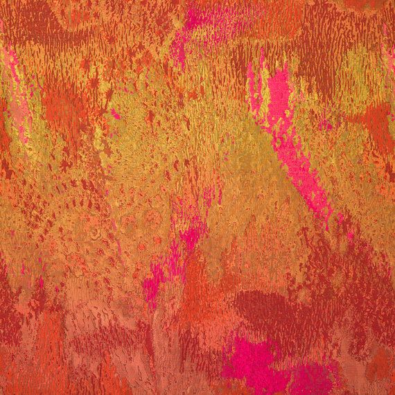 Abstract Orange And Pink Silk Drapery Fabric By The Yard   Heavyweight  Modern Gold Furniture Upholstery