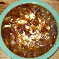 Babgulyás háziasan (marha- és füstölt hús, vegyes zöldség, csipetke)