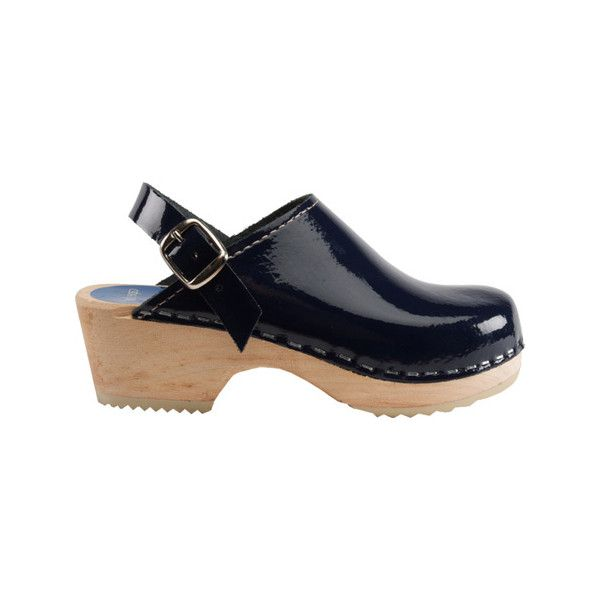 Cape Clogs Navy Patent Clog ($105) ❤ liked on Polyvore featuring shoes, clogs, blue, casual footwear, casual shoes, clogs footwear, patent leather shoes, blue patent leather shoes, navy blue patent leather shoes and navy blue patent shoes