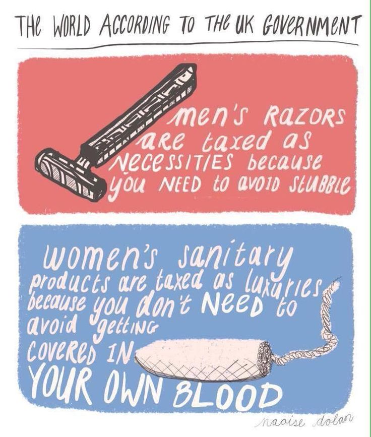 Female sanitary products are not a luxury; they are a necessity, and therefore should not be subject to luxury tax. Especially when mens razors  do not have luxury tax.  Placing luxury tax on a basic female necessity shows that women are viewed as inferior and there needs are not as important as mens.