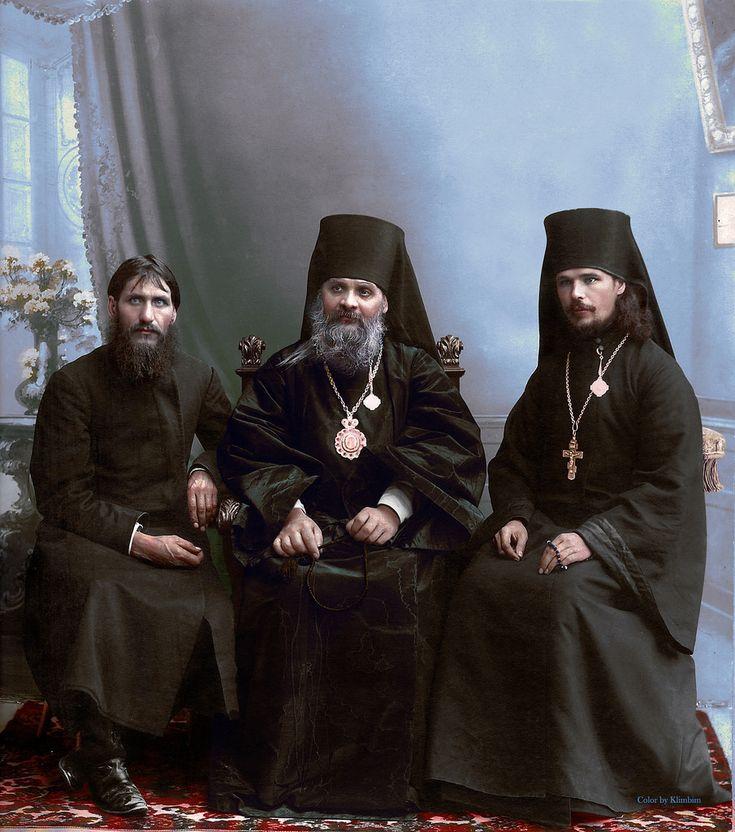 Grigori Rasputin,  Bishop Hermogen and Hieromonk Iliodor in Tsaritsyn, 1909