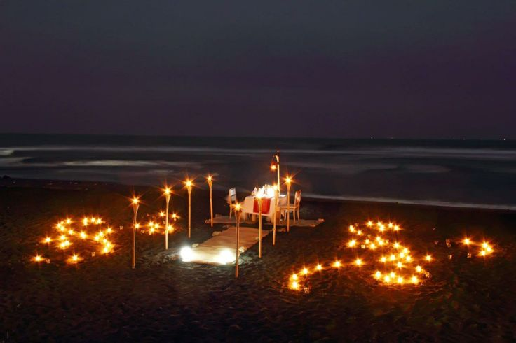 Romantic dinner at the beach #AnapuriVillas #Bali