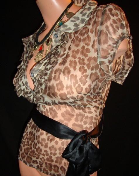 Леопардовая блузка 100% полупрозрачный шелк !