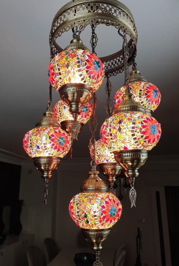 Free Ship 7 Globes Turkish Moroccan Mosaic Hanging Ceiling Lantern
