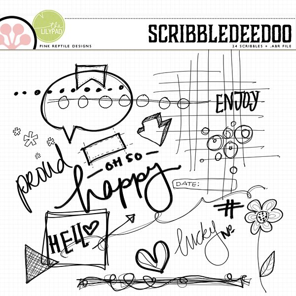 Scribbledeedoo | Brushes & Stamps by Pink Reptile Designs  (versatile new set of hand-drawn doodles for digital or hybrid projects!)